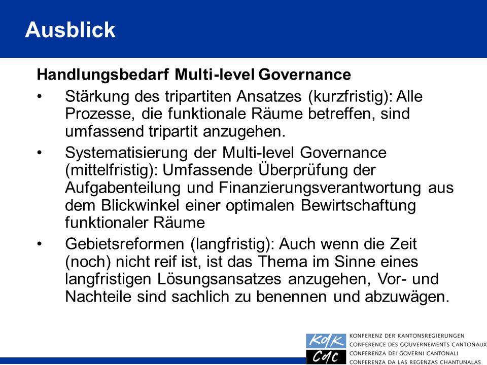 Ausblick Handlungsbedarf Multi-level Governance Stärkung des tripartiten Ansatzes (kurzfristig): Alle Prozesse, die funktionale Räume betreffen, sind umfassend tripartit anzugehen.