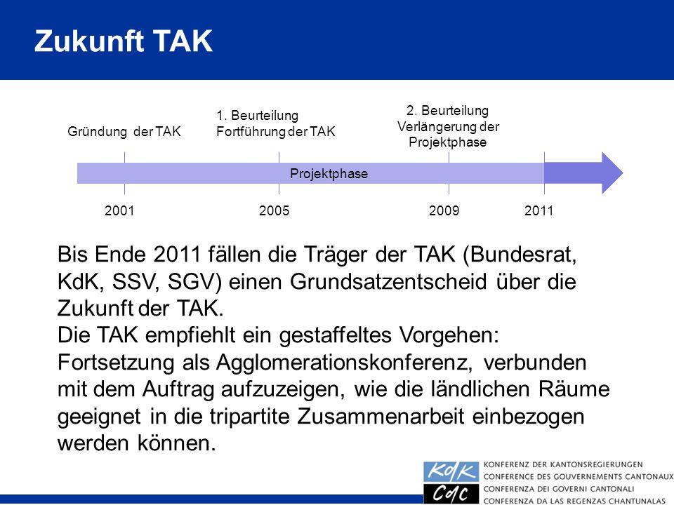 Zukunft TAK Gründung der TAK 2001200520092011 Projektphase 1. Beurteilung Fortführung der TAK 2. Beurteilung Verlängerung der Projektphase Bis Ende 20
