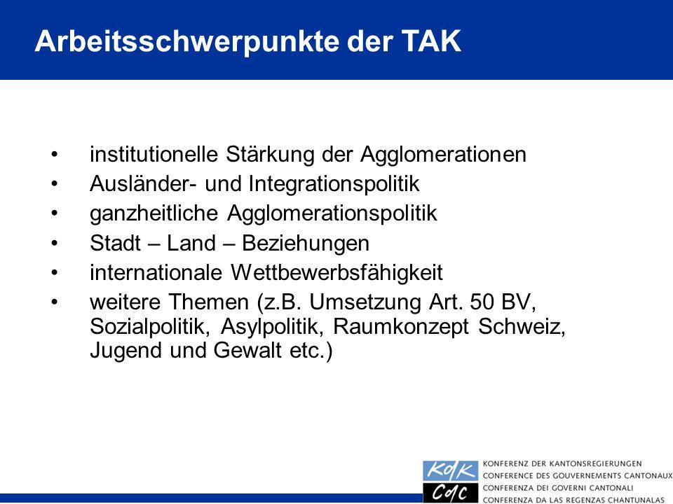 9 institutionelle Stärkung der Agglomerationen Ausländer- und Integrationspolitik ganzheitliche Agglomerationspolitik Stadt – Land – Beziehungen inter