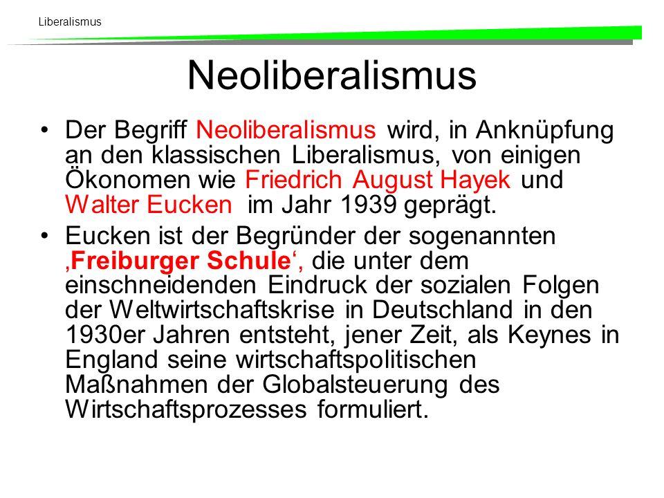 Liberalismus Neoliberalismus Der Begriff Neoliberalismus wird, in Anknüpfung an den klassischen Liberalismus, von einigen Ökonomen wie Friedrich August Hayek und Walter Eucken im Jahr 1939 geprägt.