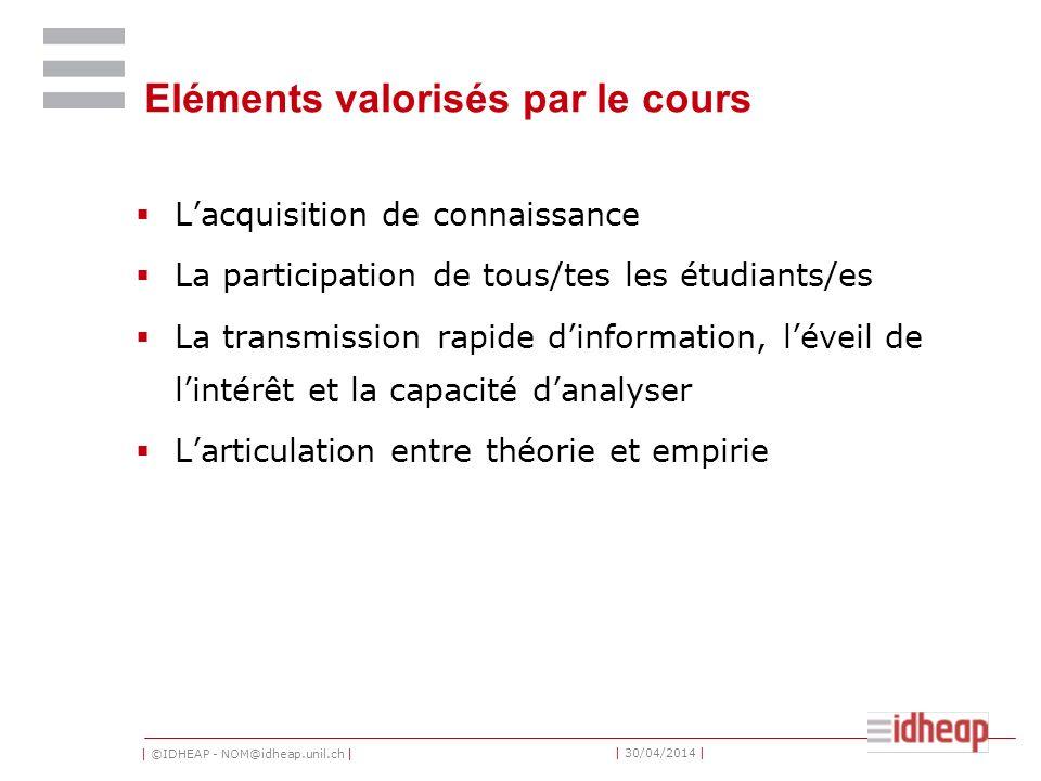 | ©IDHEAP - NOM@idheap.unil.ch | | 30/04/2014 | Concept du cours Décoder larchitecture institutionnelle de la Suisse (les règles du jeu) Comprendre ses implications pour les politiques matérielles