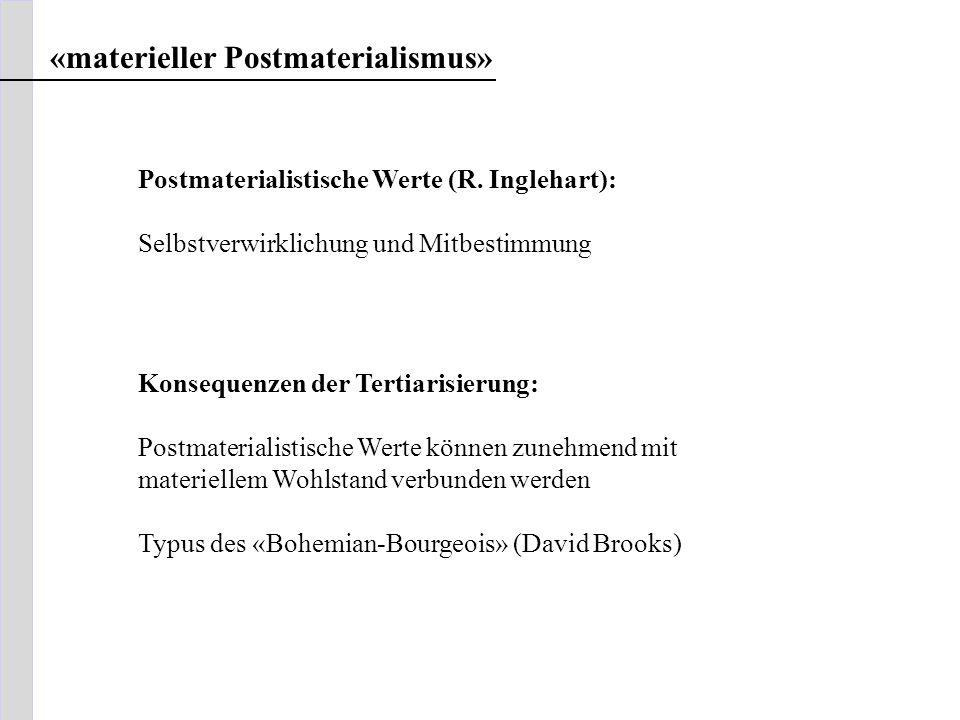 «materieller Postmaterialismus» Postmaterialistische Werte (R. Inglehart): Selbstverwirklichung und Mitbestimmung Konsequenzen der Tertiarisierung: Po