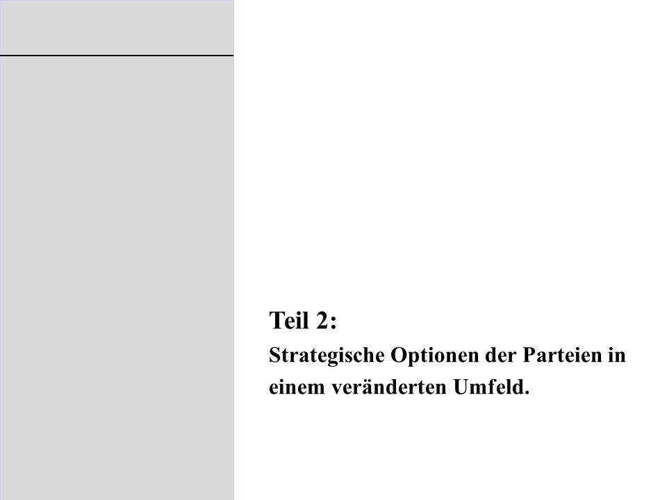 Teil 2: Strategische Optionen der Parteien in einem veränderten Umfeld.