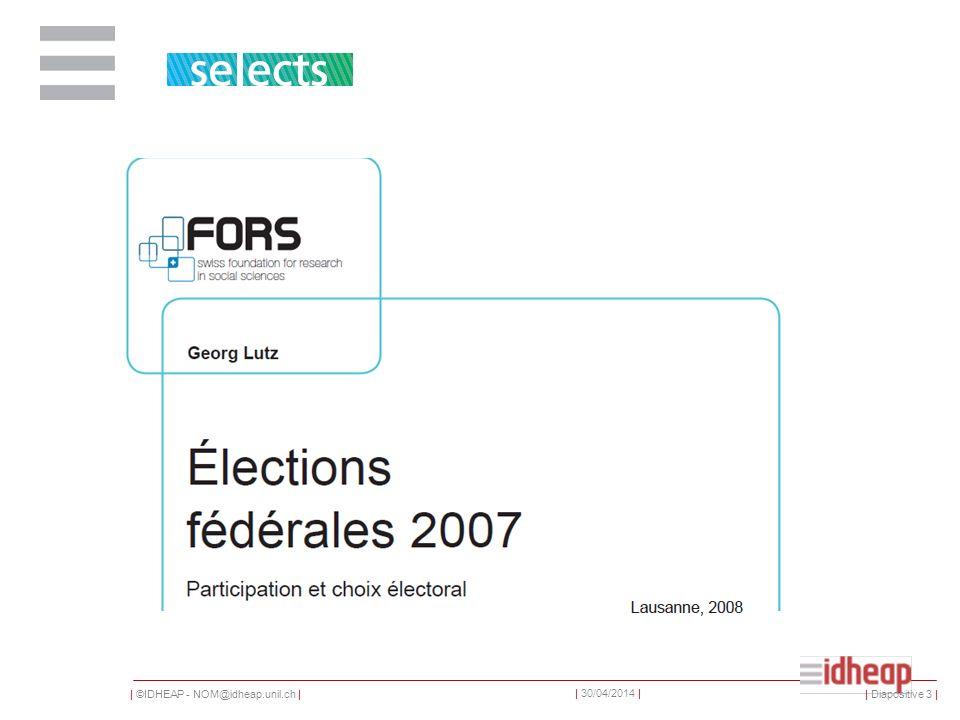 | ©IDHEAP - NOM@idheap.unil.ch | | 30/04/2014 | Une enquête au niveau des électeurs De ce total, un sous-groupe de 2005 personnes constitue un échantillon représentatif pour l ensemble de la Suisse ; de plus, 2387 entretiens ont été réalisées dans différents cantons, afin de disposer dans chaque canton d un échantillon d au moins 100 personnes ; dans les cantons de Zurich, du Tessin et de Genève, cet échantillon a été porté à 600 personnes.