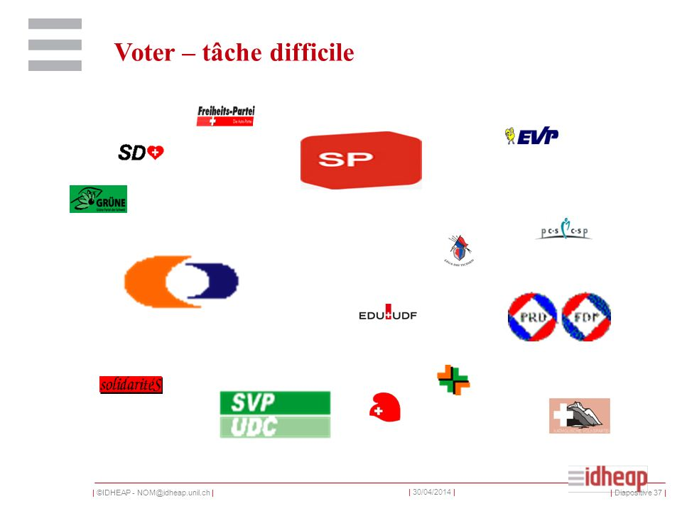 | ©IDHEAP - | | 30/04/2014 | Voter – tâche difficile | Diapositive 37 |