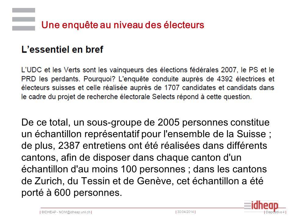 | ©IDHEAP - NOM@idheap.unil.ch | | 30/04/2014 | Participation Pour la troisième fois consécutive, la participation aux élections a augmenté.