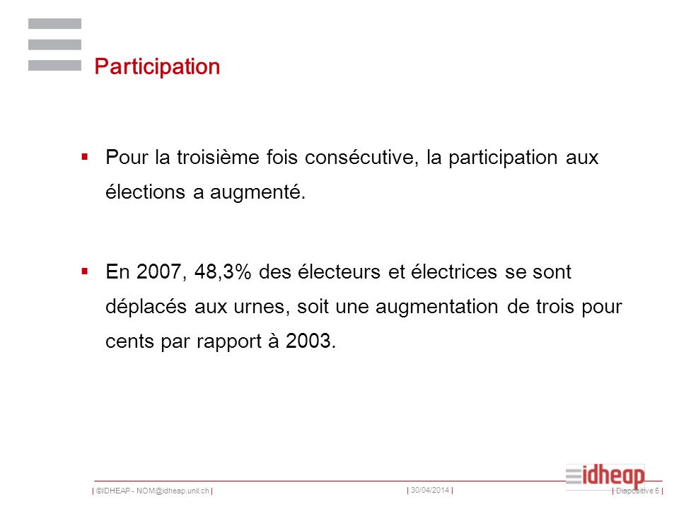 | ©IDHEAP - NOM@idheap.unil.ch | | 30/04/2014 | Smartvote 2007: « Le bulletin de vote » | Diapositive 46 |