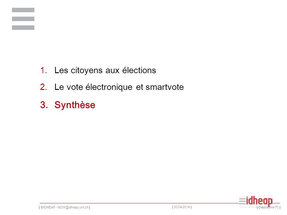 | ©IDHEAP - NOM@idheap.unil.ch | | 30/04/2014 | 1.Les citoyens aux élections 2.Le vote électronique et smartvote 3.Synthèse | Diapositive 70 |