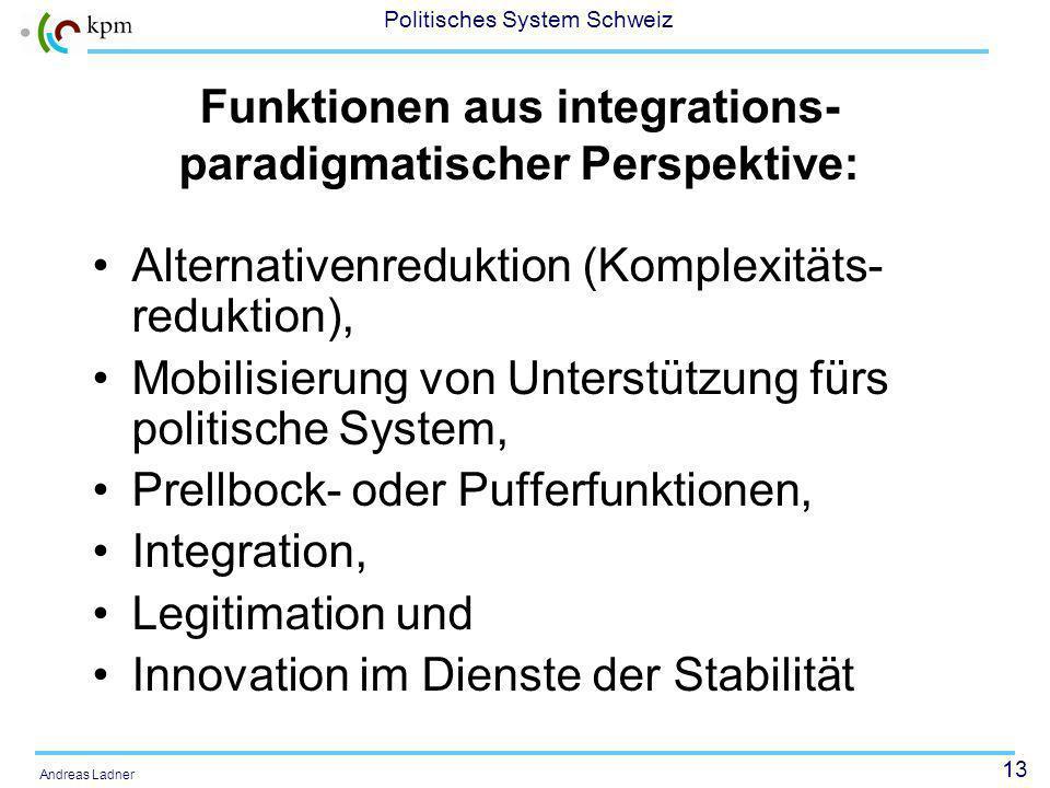 13 Politisches System Schweiz Andreas Ladner Funktionen aus integrations- paradigmatischer Perspektive: Alternativenreduktion (Komplexitäts- reduktion), Mobilisierung von Unterstützung fürs politische System, Prellbock- oder Pufferfunktionen, Integration, Legitimation und Innovation im Dienste der Stabilität