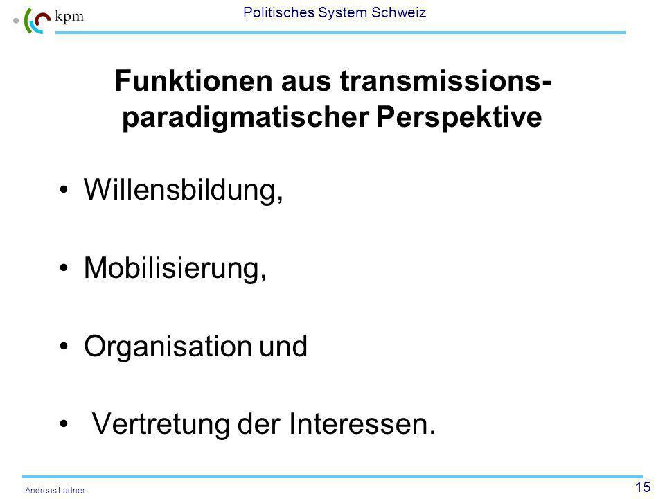 15 Politisches System Schweiz Andreas Ladner Funktionen aus transmissions- paradigmatischer Perspektive Willensbildung, Mobilisierung, Organisation und Vertretung der Interessen.
