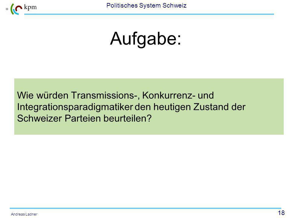 18 Politisches System Schweiz Andreas Ladner Aufgabe: Wie würden Transmissions-, Konkurrenz- und Integrationsparadigmatiker den heutigen Zustand der Schweizer Parteien beurteilen?