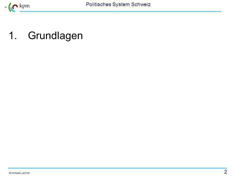2 Politisches System Schweiz Andreas Ladner 1.Grundlagen