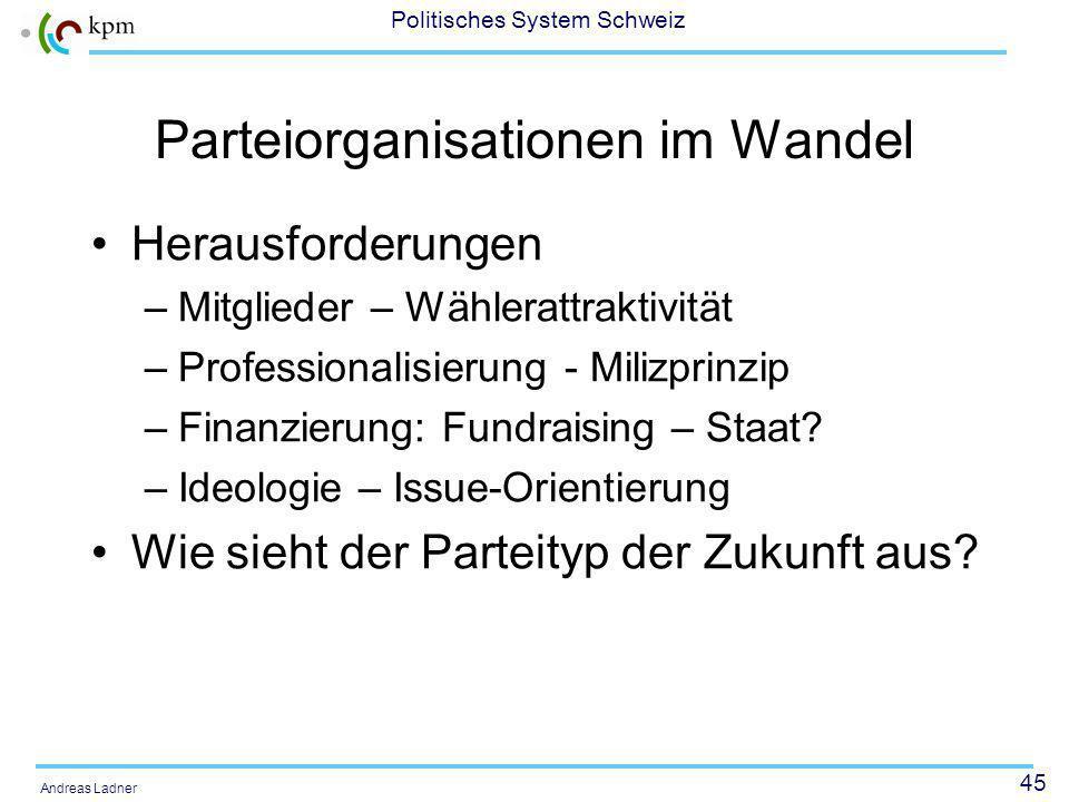 45 Politisches System Schweiz Andreas Ladner Parteiorganisationen im Wandel Herausforderungen –Mitglieder – Wählerattraktivität –Professionalisierung - Milizprinzip –Finanzierung: Fundraising – Staat.