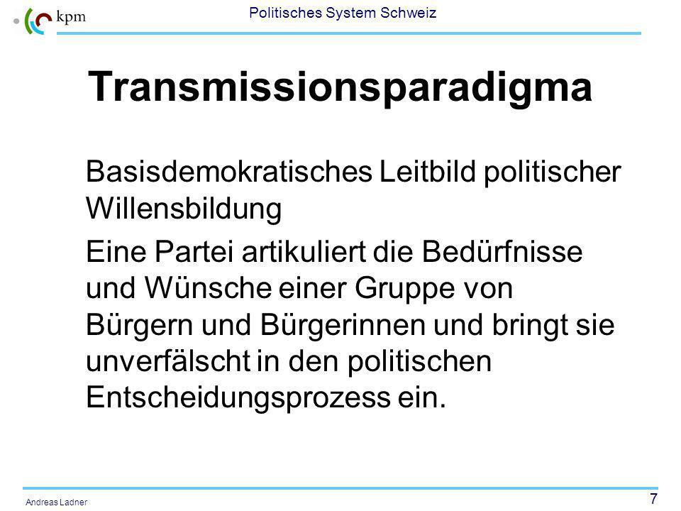 7 Politisches System Schweiz Andreas Ladner Transmissionsparadigma Basisdemokratisches Leitbild politischer Willensbildung Eine Partei artikuliert die Bedürfnisse und Wünsche einer Gruppe von Bürgern und Bürgerinnen und bringt sie unverfälscht in den politischen Entscheidungsprozess ein.