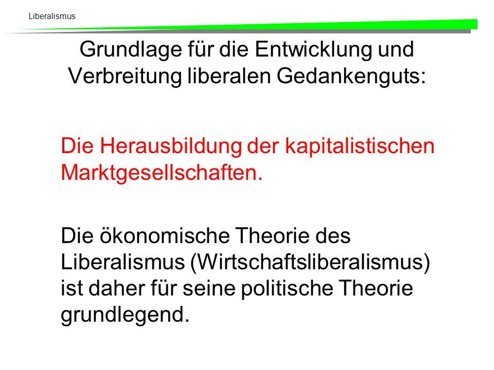 Liberalismus Liberalismus und Staat Gesellschaftsvertrag (Locke 1632-1704 Grund- und Menschenrechte Repräsentative Demokratie (John Stuart Mill (1806-1873) Gewaltenteilung (Exekutive, Legislative, Judikative), Montesquieu (1689-1755) Rechtsstaatlichkeit (Legalitätsprinzip)