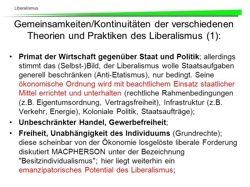Liberalismus Liberale Politik Die wesentliche politische Forderung des klassischen Liberalismus an den Staat lautet: Der Staat ermöglicht und garantiert in erster Linie die privatkapitalistische Marktgesellschaft.