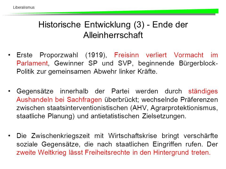 Liberalismus Auswirkungen des Proporzwahlverfahrens (1919) auf die Sitzverteilung im Nationalrat