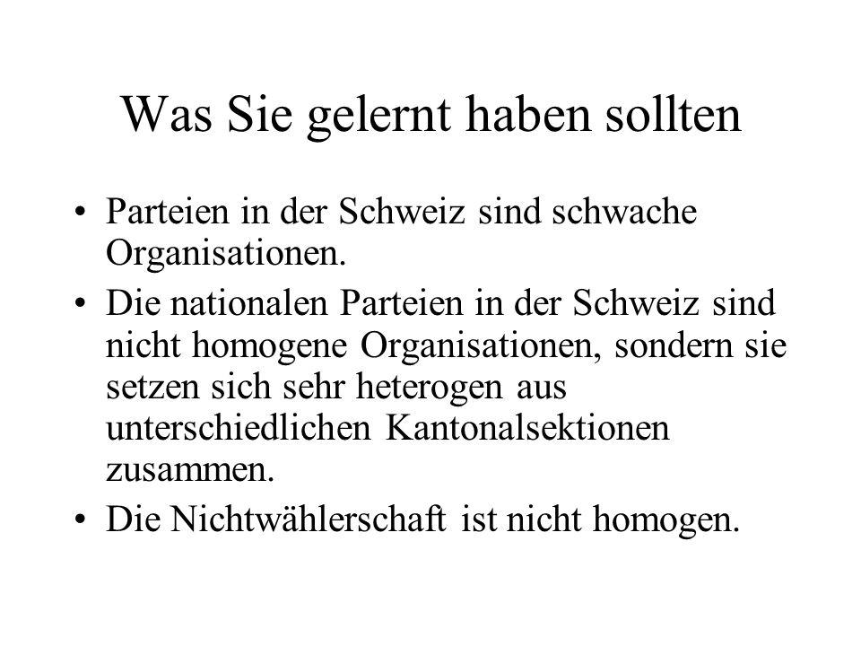 Was Sie gelernt haben sollten Parteien in der Schweiz sind schwache Organisationen.