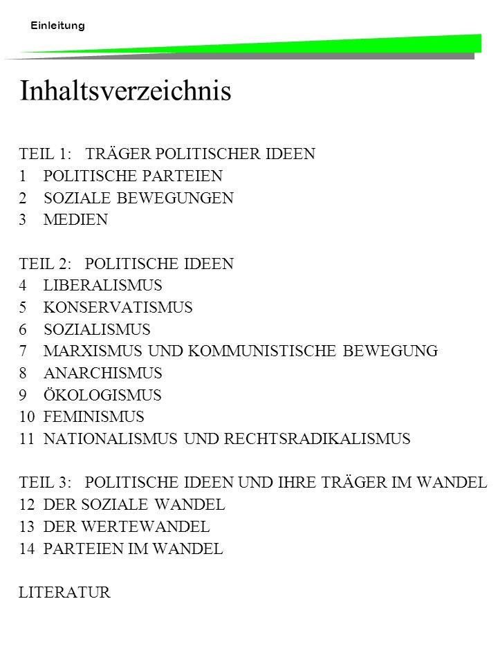 Einleitung Inhaltsverzeichnis TEIL 1:TRÄGER POLITISCHER IDEEN 1POLITISCHE PARTEIEN 2SOZIALE BEWEGUNGEN 3MEDIEN TEIL 2:POLITISCHE IDEEN 4LIBERALISMUS 5KONSERVATISMUS 6SOZIALISMUS 7MARXISMUS UND KOMMUNISTISCHE BEWEGUNG 8ANARCHISMUS 9ÖKOLOGISMUS 10FEMINISMUS 11NATIONALISMUS UND RECHTSRADIKALISMUS TEIL 3:POLITISCHE IDEEN UND IHRE TRÄGER IM WANDEL 12DER SOZIALE WANDEL 13DER WERTEWANDEL 14PARTEIEN IM WANDEL LITERATUR