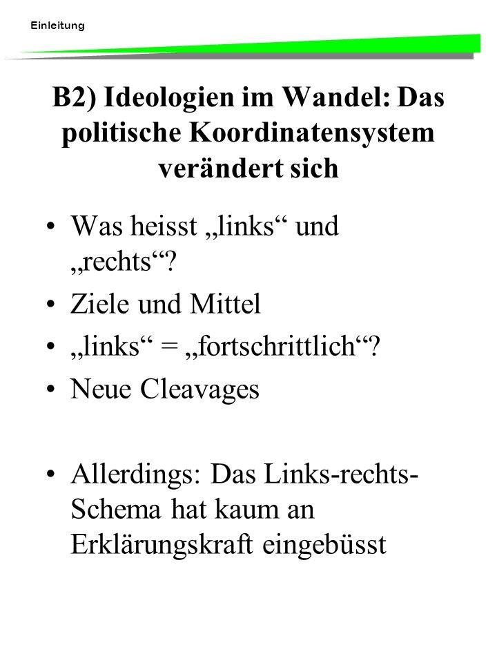 Einleitung B2) Ideologien im Wandel: Das politische Koordinatensystem verändert sich Was heisst links und rechts? Ziele und Mittel links = fortschritt