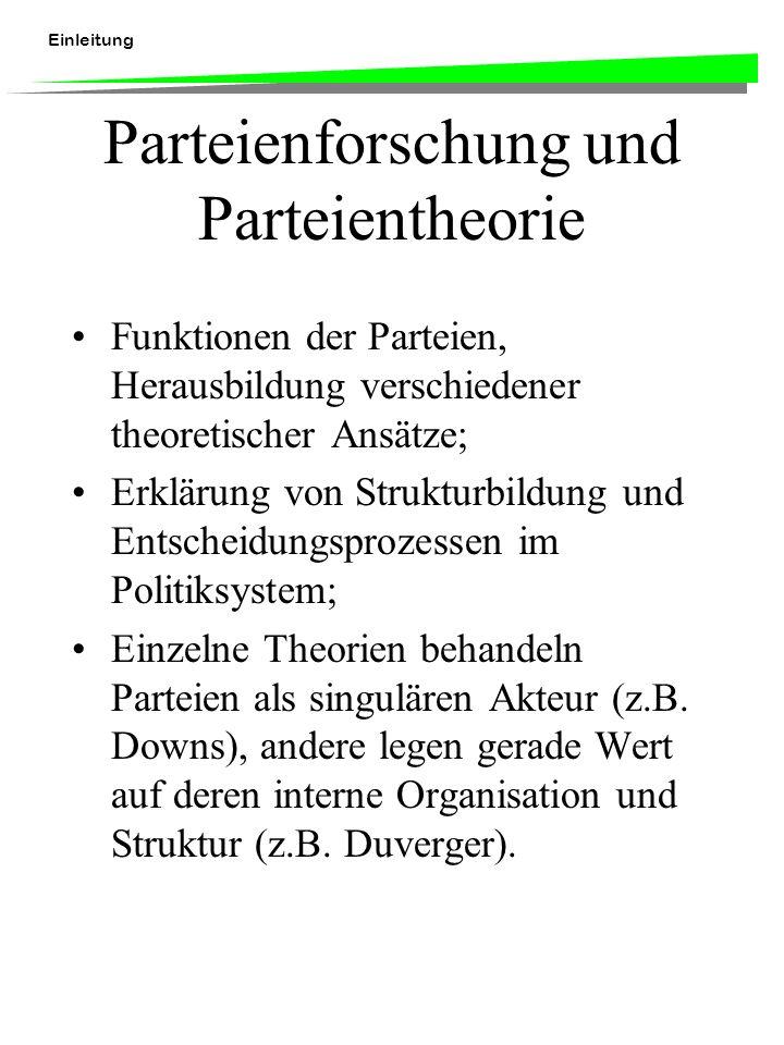 Einleitung Parteienforschung und Parteientheorie Funktionen der Parteien, Herausbildung verschiedener theoretischer Ansätze; Erklärung von Strukturbildung und Entscheidungsprozessen im Politiksystem; Einzelne Theorien behandeln Parteien als singulären Akteur (z.B.