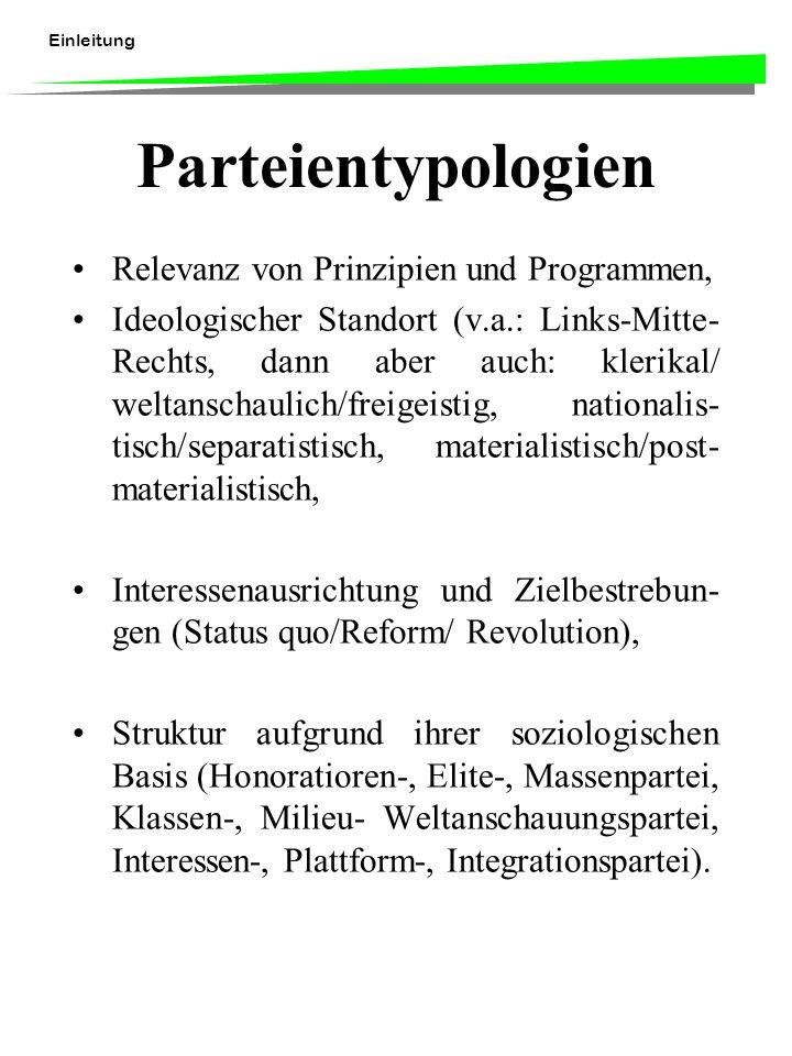 Einleitung Parteientypologien Relevanz von Prinzipien und Programmen, Ideologischer Standort (v.a.: Links-Mitte- Rechts, dann aber auch: klerikal/ we