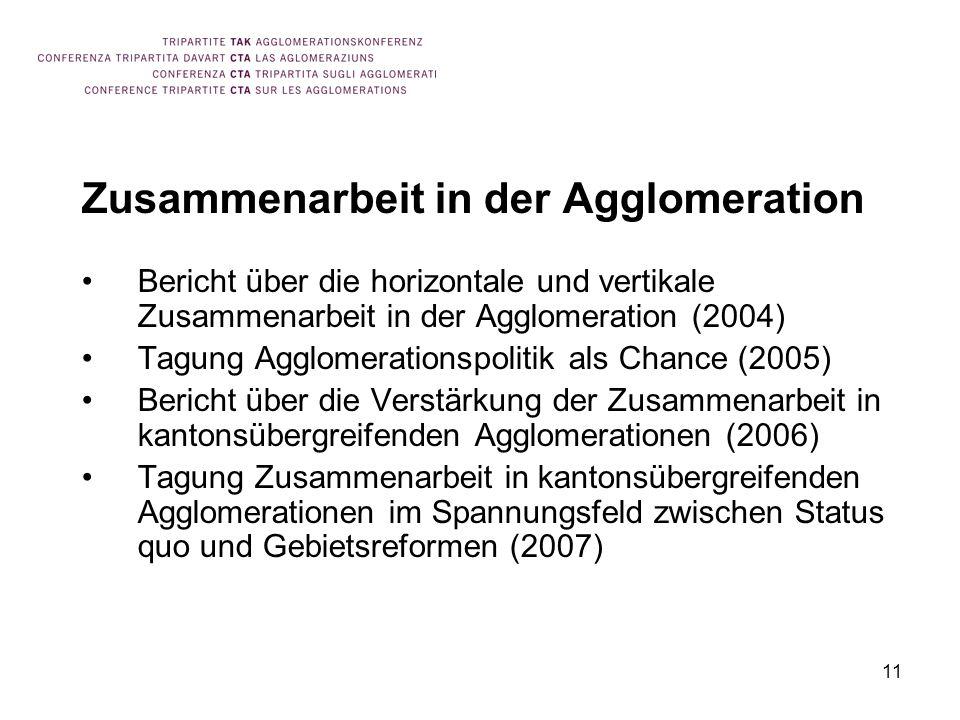 11 Zusammenarbeit in der Agglomeration Bericht über die horizontale und vertikale Zusammenarbeit in der Agglomeration (2004) Tagung Agglomerationspoli