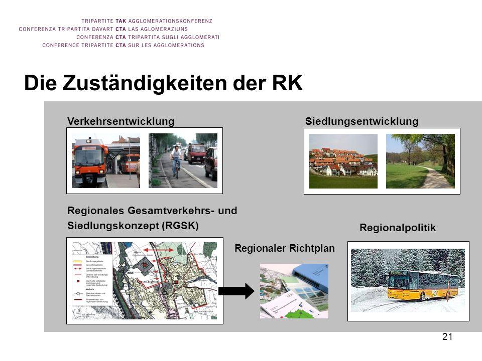 21 Die Zuständigkeiten der RK VerkehrsentwicklungSiedlungsentwicklung Regionales Gesamtverkehrs- und Siedlungskonzept (RGSK) Regionaler Richtplan Regionalpolitik