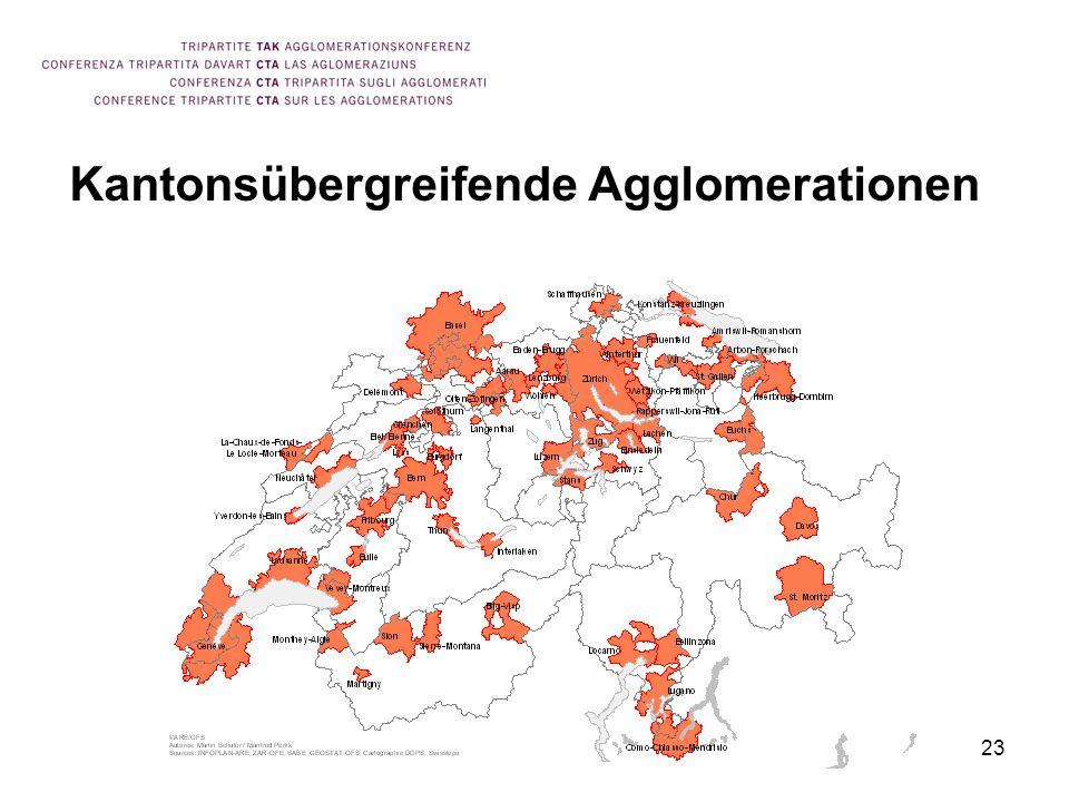 23 Kantonsübergreifende Agglomerationen