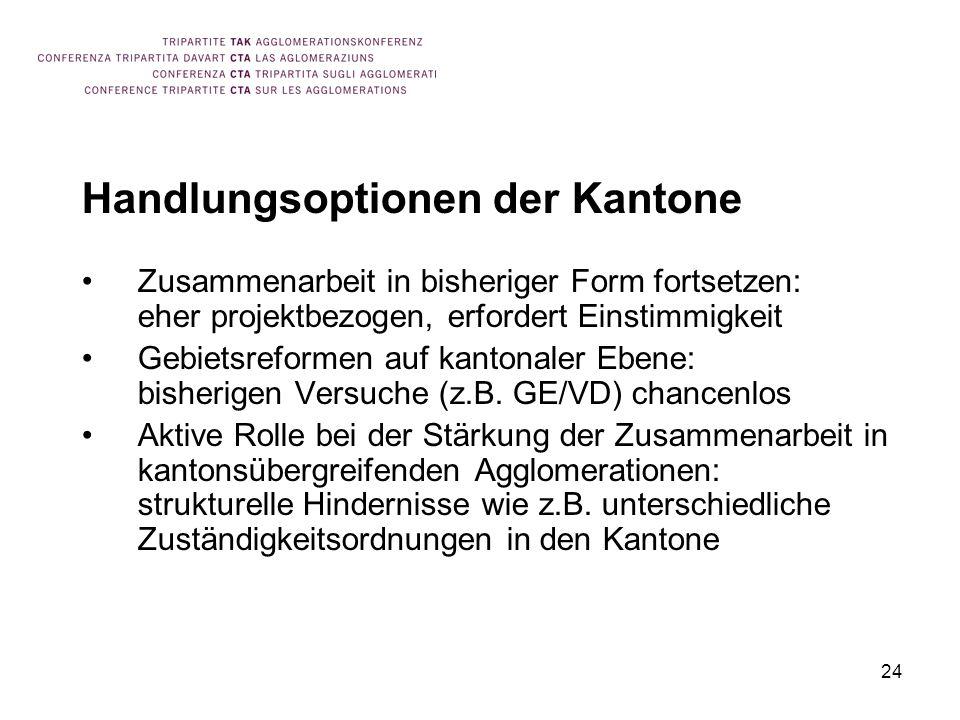 24 Handlungsoptionen der Kantone Zusammenarbeit in bisheriger Form fortsetzen: eher projektbezogen, erfordert Einstimmigkeit Gebietsreformen auf kanto