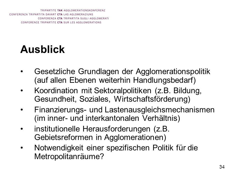 34 Ausblick Gesetzliche Grundlagen der Agglomerationspolitik (auf allen Ebenen weiterhin Handlungsbedarf) Koordination mit Sektoralpolitiken (z.B.