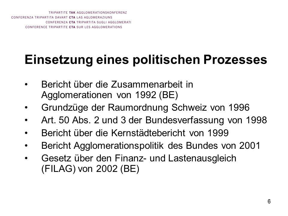 6 Einsetzung eines politischen Prozesses Bericht über die Zusammenarbeit in Agglomerationen von 1992 (BE) Grundzüge der Raumordnung Schweiz von 1996 A