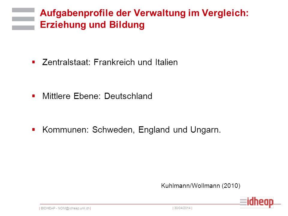 | ©IDHEAP - NOM@idheap.unil.ch | | 30/04/2014 | Aufgabenprofile der Verwaltung im Vergleich: Erziehung und Bildung Zentralstaat: Frankreich und Italien Mittlere Ebene: Deutschland Kommunen: Schweden, England und Ungarn.