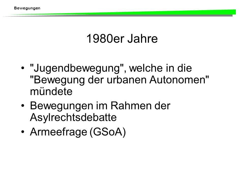Bewegungen 1960er und 1970er Jahre: Hochkonjunktur