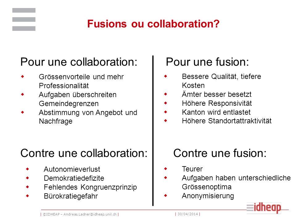 | ©IDHEAP – Andreas.Ladner@idheap.unil.ch | | 30/04/2014 | Grössenvorteile und mehr Professionalität Aufgaben überschreiten Gemeindegrenzen Abstimmung von Angebot und Nachfrage Fusions ou collaboration.