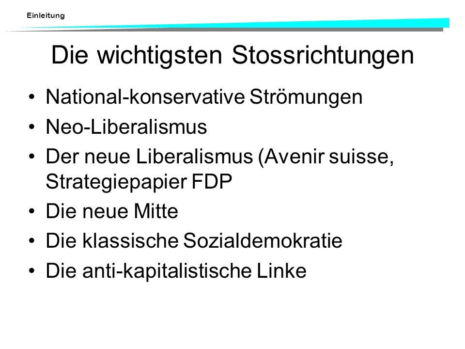Einleitung Die wichtigsten Stossrichtungen National-konservative Strömungen Neo-Liberalismus Der neue Liberalismus (Avenir suisse, Strategiepapier FDP