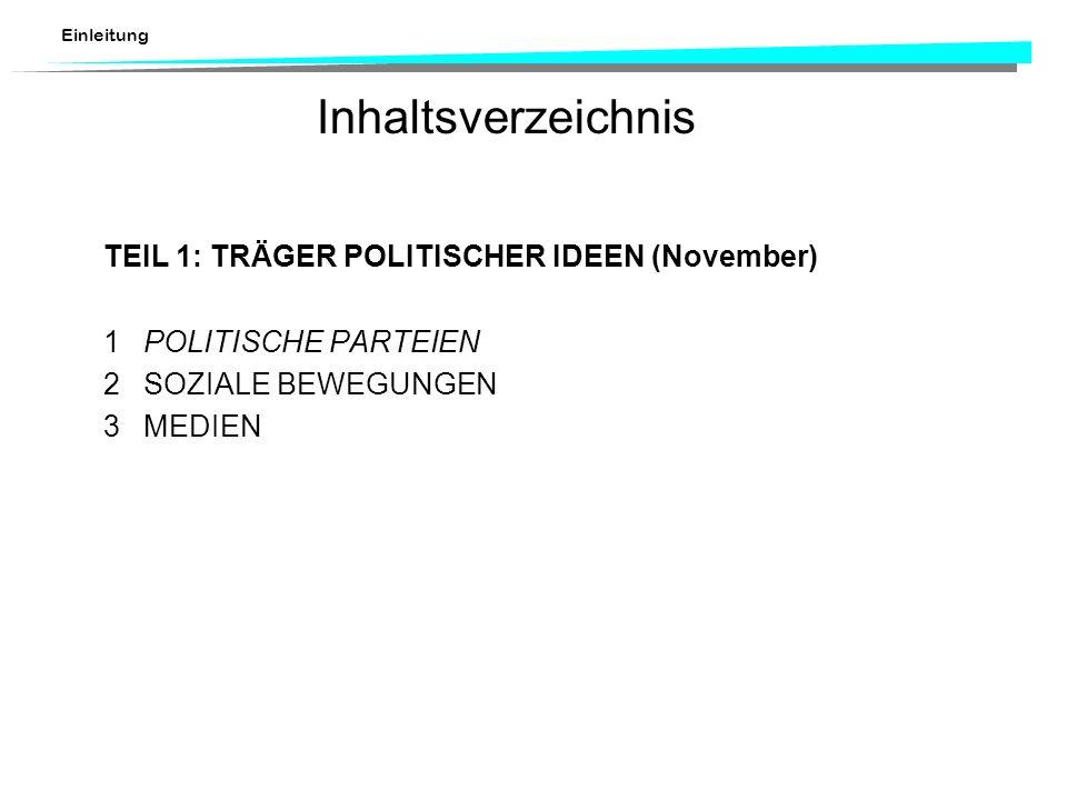 Einleitung Inhaltsverzeichnis TEIL 1:TRÄGER POLITISCHER IDEEN (November) 1POLITISCHE PARTEIEN 2SOZIALE BEWEGUNGEN 3MEDIEN