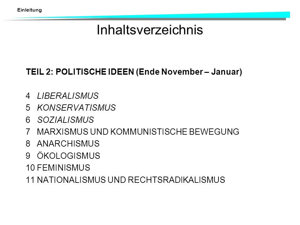 Einleitung Inhaltsverzeichnis TEIL 2:POLITISCHE IDEEN (Ende November – Januar) 4LIBERALISMUS 5KONSERVATISMUS 6SOZIALISMUS 7MARXISMUS UND KOMMUNISTISCH