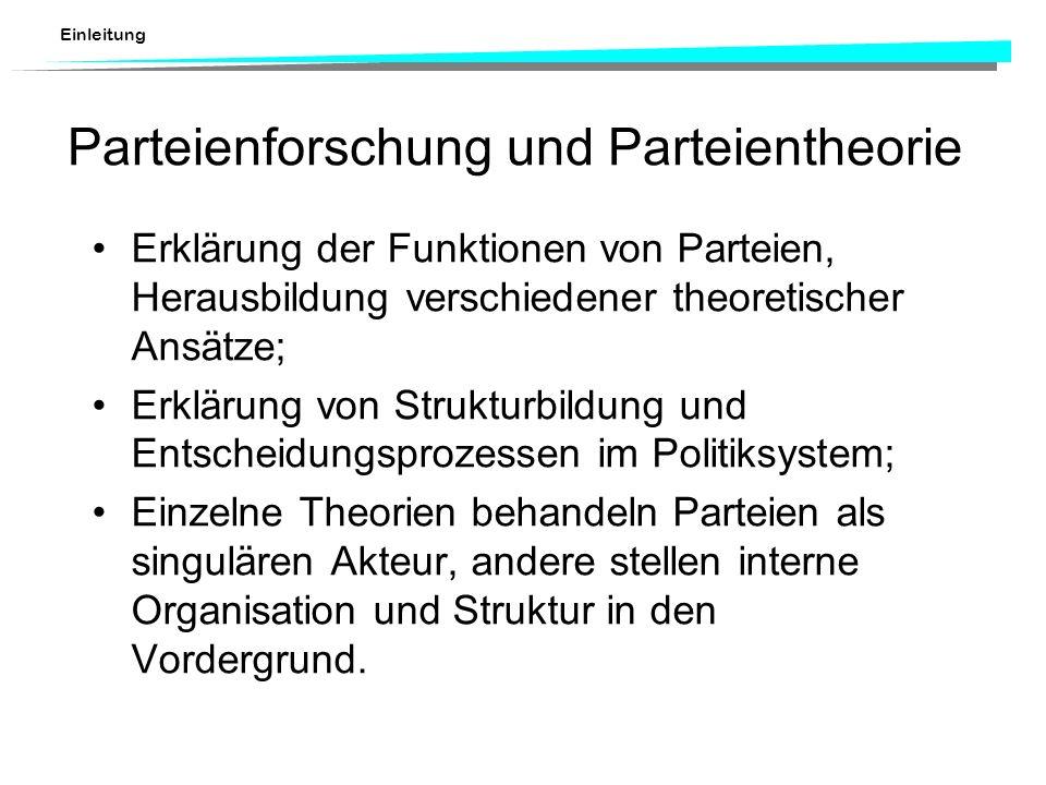 Einleitung Parteienforschung und Parteientheorie Erklärung der Funktionen von Parteien, Herausbildung verschiedener theoretischer Ansätze; Erklärung v