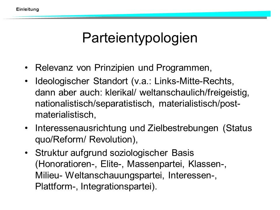 Einleitung Parteientypologien Relevanz von Prinzipien und Programmen, Ideologischer Standort (v.a.: Links-Mitte-Rechts, dann aber auch: klerikal/ welt