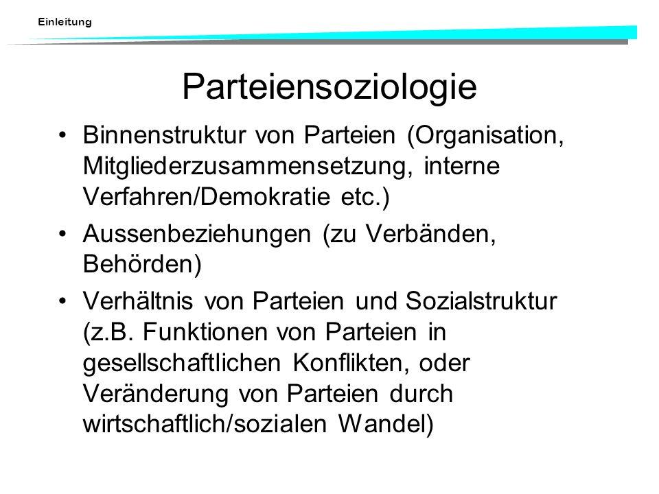 Einleitung Parteiensoziologie Binnenstruktur von Parteien (Organisation, Mitgliederzusammensetzung, interne Verfahren/Demokratie etc.) Aussenbeziehung