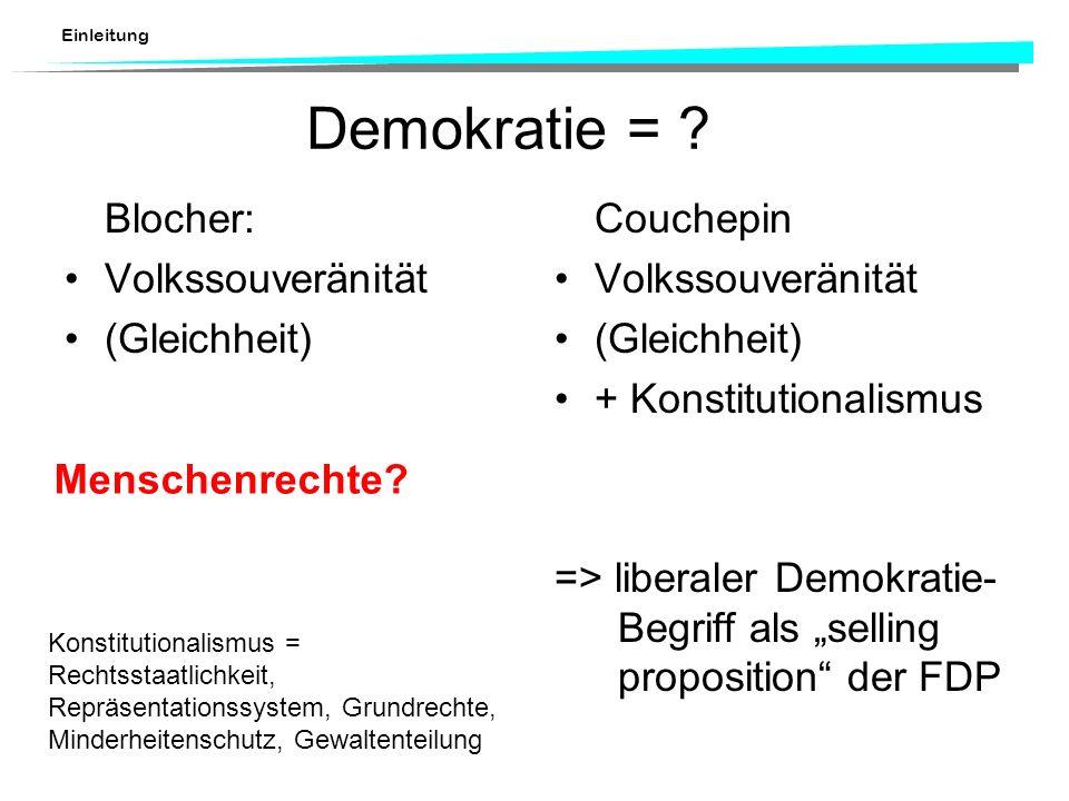 Einleitung Demokratie = ? Blocher: Volkssouveränität (Gleichheit) Couchepin Volkssouveränität (Gleichheit) + Konstitutionalismus => liberaler Demokrat