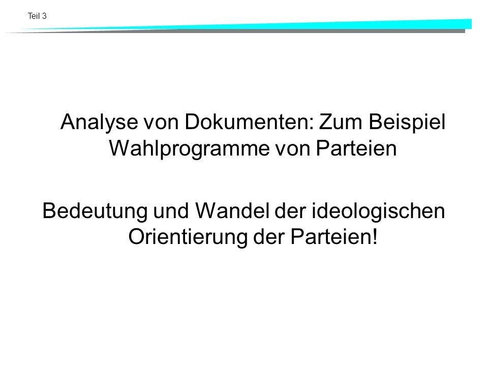 Teil 3 Analyse von Dokumenten: Zum Beispiel Wahlprogramme von Parteien Bedeutung und Wandel der ideologischen Orientierung der Parteien!