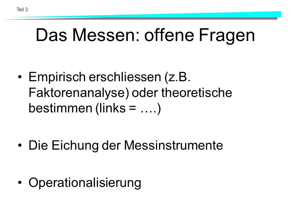 Teil 3 Das Messen: offene Fragen Empirisch erschliessen (z.B. Faktorenanalyse) oder theoretische bestimmen (links = ….) Die Eichung der Messinstrument