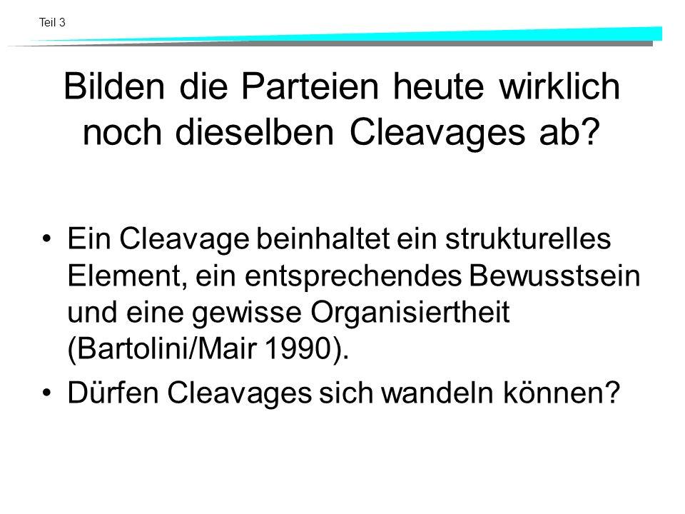 Teil 3 Bilden die Parteien heute wirklich noch dieselben Cleavages ab? Ein Cleavage beinhaltet ein strukturelles Element, ein entsprechendes Bewusstse