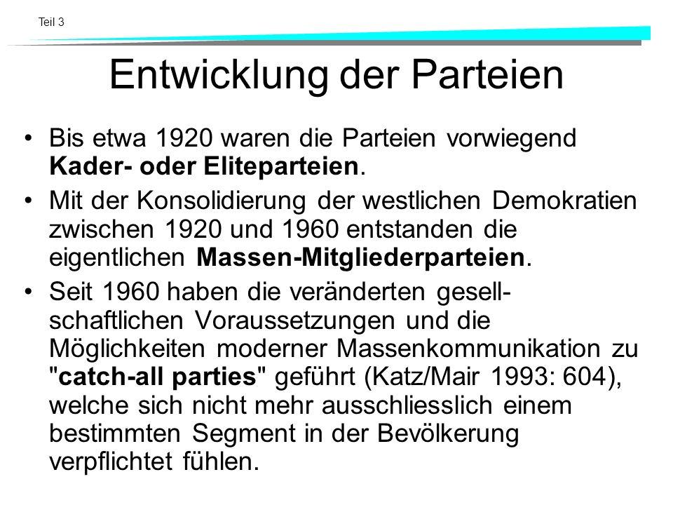 Teil 3 Entwicklung der Parteien Bis etwa 1920 waren die Parteien vorwiegend Kader- oder Eliteparteien. Mit der Konsolidierung der westlichen Demokrati
