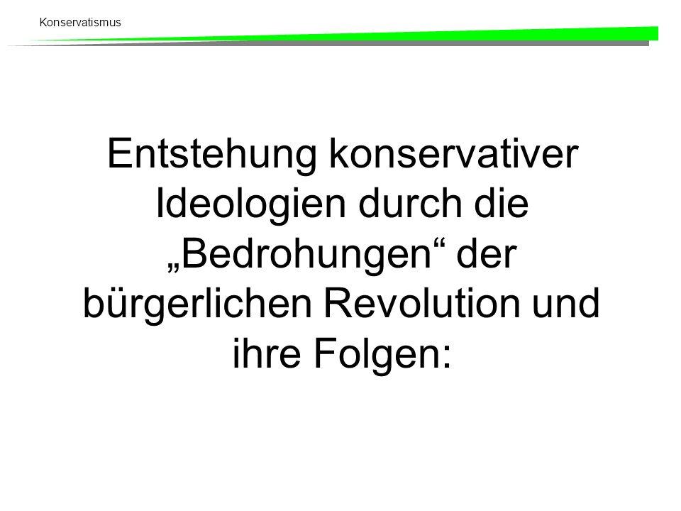 Konservatismus Entstehung konservativer Ideologien durch die Bedrohungen der bürgerlichen Revolution und ihre Folgen: