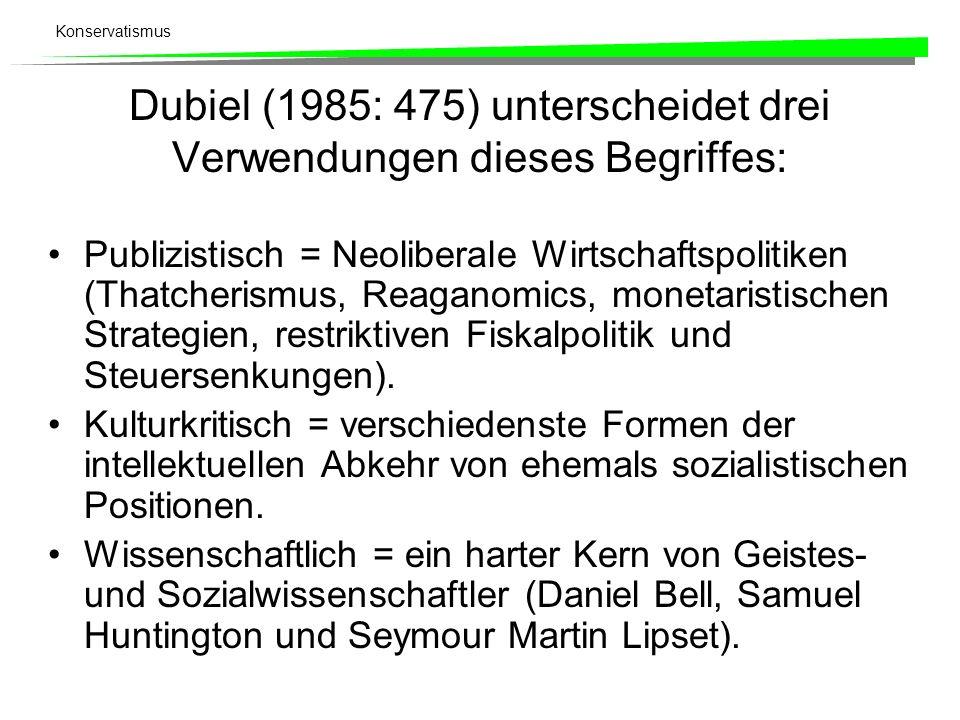 Konservatismus Dubiel (1985: 475) unterscheidet drei Verwendungen dieses Begriffes: Publizistisch = Neoliberale Wirtschaftspolitiken (Thatcherismus, R
