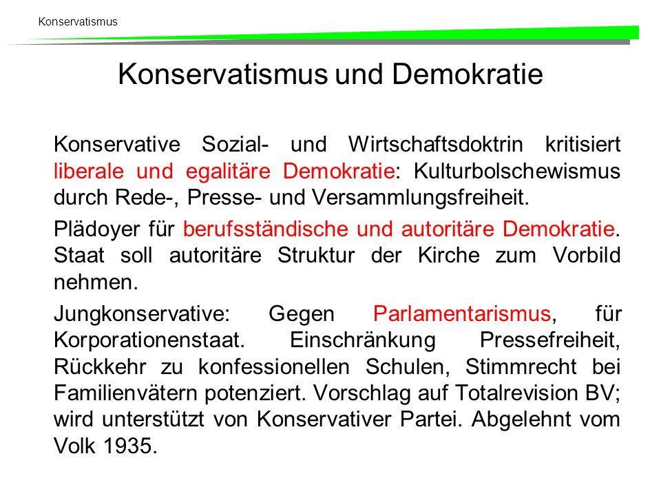 Konservatismus Konservatismus und Demokratie Konservative Sozial- und Wirtschaftsdoktrin kritisiert liberale und egalitäre Demokratie: Kulturbolschewi