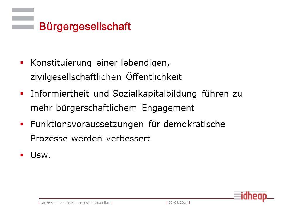 | ©IDHEAP – Andreas.Ladner@idheap.unil.ch | | 30/04/2014 | Bürgergesellschaft Konstituierung einer lebendigen, zivilgesellschaftlichen Öffentlichkeit